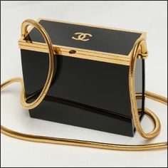 Chanel black and gold Lucite runway vintage box handbag. This is the one!!!