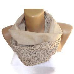 cute love scarf floral print beige linen cotton scarf  by seno, $19.00