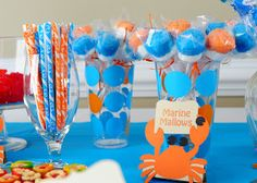 finding nemo birthday party theme...Incredible food ideas...like the relay game done in flippers...also like the ocean bottle for a party favor