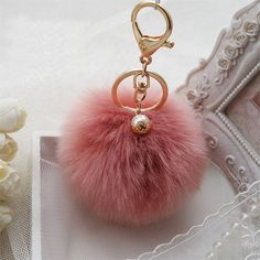 New Key Rabbit Fur Ball PomPom Gold Plated Cell Phone Car Keychain Pendant bag Charm 009