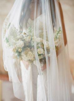 Veil covered bouquet: http://www.stylemepretty.com/2015/06/16/moody-romantic-boudoir-session-in-mexico/ | Photography: Jose Villa - http://josevilla.com/
