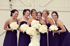 Bridesmaids in navy with pearls!
