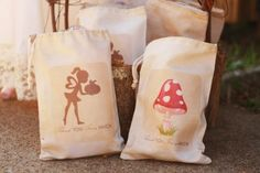 DIY treat bags made using Creative Memories Storybook Creator 4.0 software and printed on to iron paper. White canvas bags were tea stained to fit the Woodland theme.