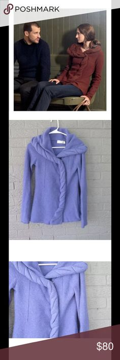 """ANTHROPOLOGIE BRANCH & BOUGH CARDIGAN PERIWINKLE $138 ANTHROPOLOGIE CHARLIE & ROBIN & BRANCH BOUGH CARDIGAN PERIWINKLE BLUE SZ S Color is a periwinkle purply blue Details (followed by measurements): """"Twisted sweater knit mimics knotty wood on this sweater's wide collar. By Charlie & Robin. Snap closure, wool, dry clean, 25.5"""" long.""""     Measurements:  Underarm to Underarm: 17"""" Sleeve (underarm to cuff) 20""""  Length (top of back collar to back hem): 24.5""""  FIRST PIC IS JUST TO SHOW FIT/STYLE…"""