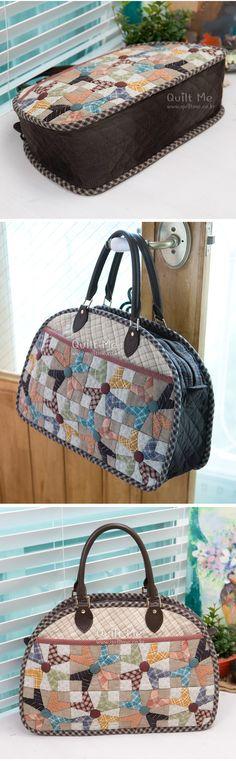 퀼트미 [빅패치 빅~ 보스턴백] Japanese Patchwork, Japanese Bag, Patchwork Bags, Quilted Bag, Handmade Purses, Handmade Handbags, Work Handbag, Denim Bag, Best Bags