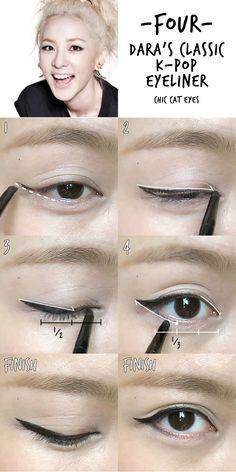 korean eyeliner 6 K-pop Inspired Korean Style Eyeliners Tutorial Makeup Korean Style, Korean Makeup Tips, Korean Makeup Tutorials, Asian Eye Makeup, Makeup Style, Beauty Style, Korean Beauty, Eyeliner Tutorial, Korean Eyeliner