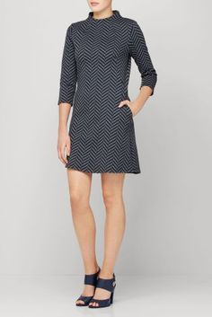 Buy Navy/Charcoal Chevron Jacquard Dress from the Next UK online shop