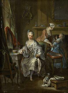 François Eisen, « Jeune femme à sa toilette« , 1742. Huile sur bois, 36,5 x 27,3 cm, Abbeville, Musée d'Abeille © RMN-Grand Palais /Thierry Ollivier