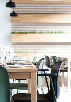 Interieur restaurant Stenden University   Achterbosch Architecten Wishbone Chair, Conference Room, Simple, Interior, Table, Restaurants, Furniture, Design, Home Decor