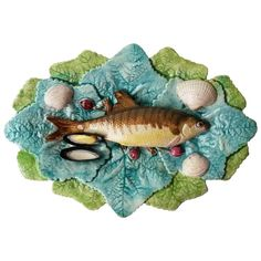 19th Century Majolica Palissy Wall Fish Platter Choisy Le Roi | From a unique collection of antique and modern decorative art at https://www.1stdibs.com/furniture/wall-decorations/decorative-art/