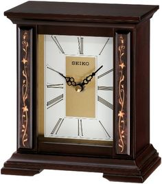 Seiko Desk And Table Clock Wooden Case With Floral Accents ** Be sure to check out this awesome product.