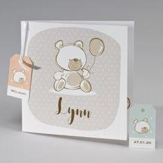 Geboortekaart met beige beer en gekleurde labels - 507.135
