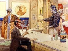 Zeus, Poseidon et Hares art by Moebius (Jean Giraud) Jean Giraud, Manado, Art And Illustration, Nogent Sur Marne, Moebius Art, Westerns, Western Comics, Bristol Board, Bd Comics
