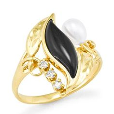 Black Coral Paradise Ring with Diamonds in 14K Yellow Gold