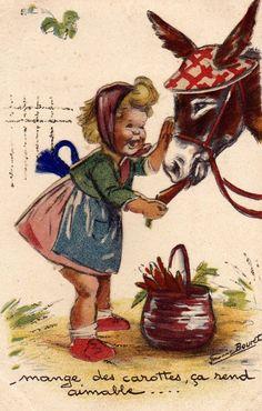 """Germaine Bouret """"Mange des carottes, ça rend aimable ... """" Images Vintage, Vintage Artwork, Vintage Pictures, Vintage Cards, Vintage Postcards, Vintage Prints, Art And Illustration, Illustrations And Posters, Sweet Drawings"""