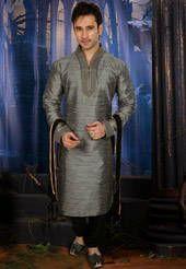 Grey Art Jute Silk Readymade Kurta with Churidar