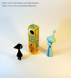 New Crow Man. Baby Totem. Storyteller. Monument Valley Game Figures.