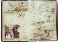 Drawing by Eugène Delacroix Sketch Journal, Artist Journal, Artist Sketchbook, Sketchbook Pages, Watercolor Sketchbook, Journal Diary, Art Du Croquis, Travel Sketchbook, Sketchbook Inspiration