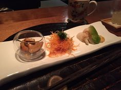 Wakuriya - San Mateo, CA, United States. Moriawase (assorted appetizers) - monkfish liver, carrot, lobster