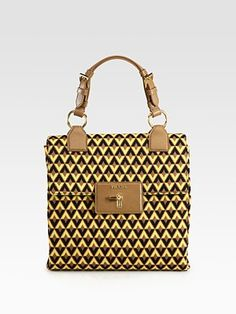 Prada Tessuto Jacquard Top Handle Bag