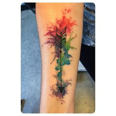 """Watercolor arrow from yesterday. Thanks @lizstagramz #watercolortattoo"""