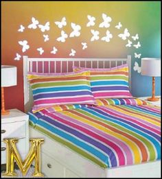 rainbow theme bedrooms - decorate a rainbow bedroom theme - Rainbow room decor - rainbow bedding - rainbow mural stickers - Rainbow wall decals - rainbow bedroom decorating ideas - Rainbow colors bedroom design ideas Rainbow Bedding, Rainbow Bedroom, Big Girl Bedrooms, Girls Bedroom, Bedroom Themes, Bedroom Decor, Bedroom Ideas, Rainbow Theme, Rainbow Baby