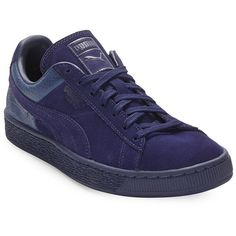Puma Suede Classic Casual Embossed Lace-Up Sneakers ($49) ❤ liked on Polyvore featuring men's fashion, men's shoes, men's sneakers, blue, mens platform sneakers, mens blue shoes, mens lace up shoes, mens blue suede shoes and puma mens shoes