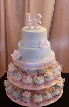 Shabby chic wedding party cake! See more party planning ideas at CatchMyParty.com!