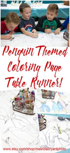 It's a coloring page and a table runner!  There's plenty of space for everyone to color.  This makes a great quiet activity while lunch and cake are being served.  Just click on the photo to shop for this and other great penguin birthday party ideas.