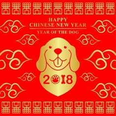 Chinese New Year 2018 Premium Vector New Year 2018, Chinese Zodiac Signs, Dog Years, Happy Chinese New Year, Winnie The Pooh, Adhd, Disney Characters, Crafts, Dogs