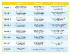 8 week running programme for beginners.