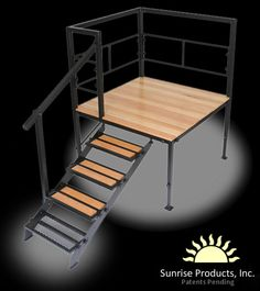 Need a Portable Deck for RV? Sunrise Decks is the top-rated mfg. of portable RV Deck with steps. Get the best portable RV porch and enjoy your investment. Deck Stairs, Wood Stairs, Small Rv, Small Spaces, Mobile Home Steps, Portable Deck, Pool Deck Plans, Pool Decks, Tiny Houses