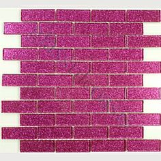 "Hot Pink 1"" x 3"" Pink Crystile Solids Glossy Glass Tile"