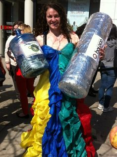 Emily Saul, Director of Playmaker Training, & a giant burrito collecting donations at Boloco Free Burrito days to benefit the Playmakers.  WHOA