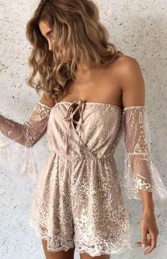 beb086b868  spring  outfits Mocha Lace Off The Shoulder ALONSO Romper ⭐ Two Piece  Outfit