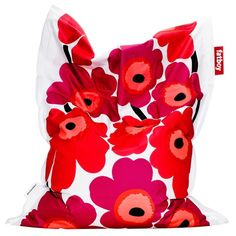 Small Marimekko Unikko Beanbag in Red- Great for reading nook!
