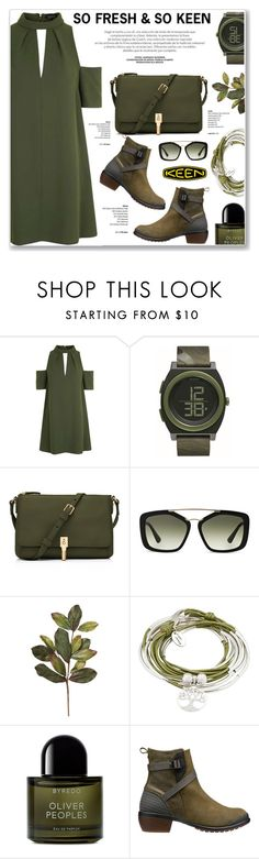 """So Fresh and So Keen: Contest Entry"" by nanawidia ❤ liked on Polyvore featuring Topshop, Nixon, Elizabeth and James, Prada, Lizzy James, Byredo, Keen Footwear, polyvoreeditorial, polyvorecontest and keen"