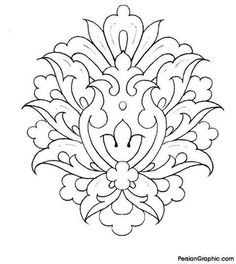 Repujado Islamic Art Pattern, Pattern Art, Hand Embroidery Designs, Embroidery Patterns, Colouring Pages, Coloring Books, Metal Embossing, Persian Motifs, Pencil Design