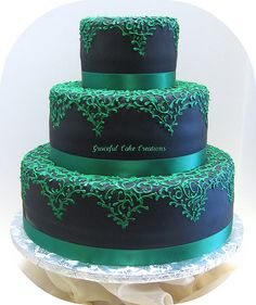 Black Fondant Wedding Cake with Emerald Green Lace Design