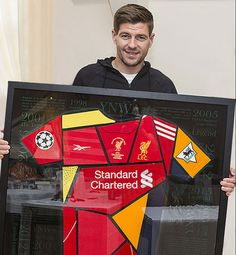 Commemorating the successful career of Steven Gerrard at his beloved club, Liverpool FC, this limited edition signed shirt montage has been created using shirts from seasons of importance or trophy winning seasons.  Gerrard is widely regarded as one of the greatest English footballers of all time as well as being one of the best midfielders of his generation. Spending his entire career at Anfield, he made his debut in 1998 and cemented his place in the first team in 2000.