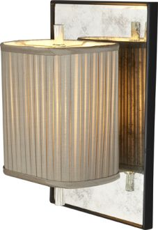 "Height: 14""  Width: 9""  Extension: 6""  Shade: 5"" x 7 1/2"" x 8 1/4"" Silk Pleated Rectangle  Wattage: 1 - 60 Watt Type A  Socket: Keyless"