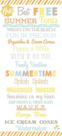 1. Walks on the Beach // Seaside Resort 2. Fun in the Sun // Weston Lite 3. Popsicles // Pacifico 4. Picnics // KG When Oceans Rise 5. Splash // Mayonaise Condensed 6. Family Vacations //Honey Script 7. Summertime // KG Happy 8. Splish Splash // Ice Cream Sandwich 9. Lemonade // Horseshoes & Lemonade 10. Sunshine // Clipper Script 11. Flip Flops & Swim Suits // Lemondrop 12. Waves // JLR Waves 13. Camp Fires // Airstream 14. Ice Cream Comes // Coney Island 15. Watermelon // Lobster Two