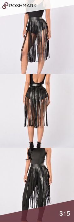 Fringe Leather Belt Long Fringe Leather Belt can be Worn Over a Dress, Shorts, Skirt, or Swimsuit coverup. Adjustable Size with Gold Snaps Vegan Leather Accessories Belts