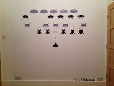 Space invaders wall sticker. Black and grey