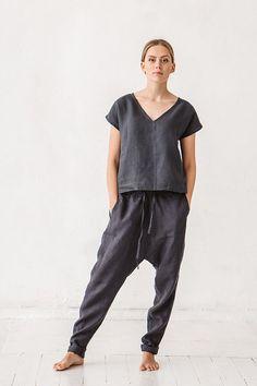 Sarouel, pantalon lin, femme Pantalons, pantalons de lin naturels, pantalon, Stone washed lin, Français de vêtements de lin, pantalons de Yoga