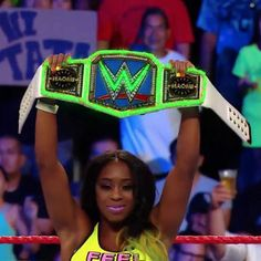 Custom glowing title belt with animated RGB LEDs, created for WWE SmackDown Champion Naomi. The Bella Twins, Black Wrestlers, Wwe Female Wrestlers, Wrestling Superstars, Women's Wrestling, Wwe Women's Championship, Wwe Entertainment, Naomi Wwe, Wwe Raw Women