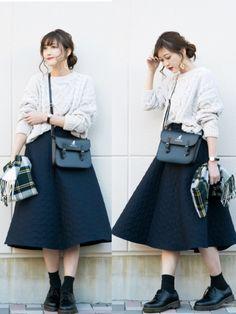 しまむら モテニット ¥1900税込 UNIQLO キルトスカート ¥4990 KANGOL サッチ