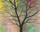 ACEO Original Acrylic Painting - Tree with Lightning. Michael Francis Brown. ATC, artist trading card
