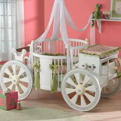 A round carriage crib.