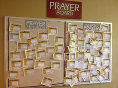 This is a great idea for a Prayer Board, having a Prayer Request side and an Answered Prayer side!